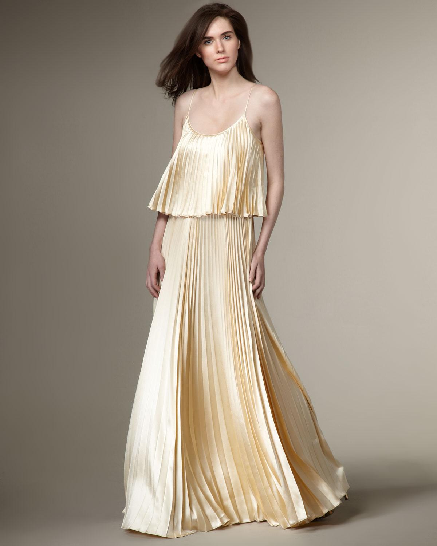 Halston Pleated Silk Dress In Cream Natural Lyst