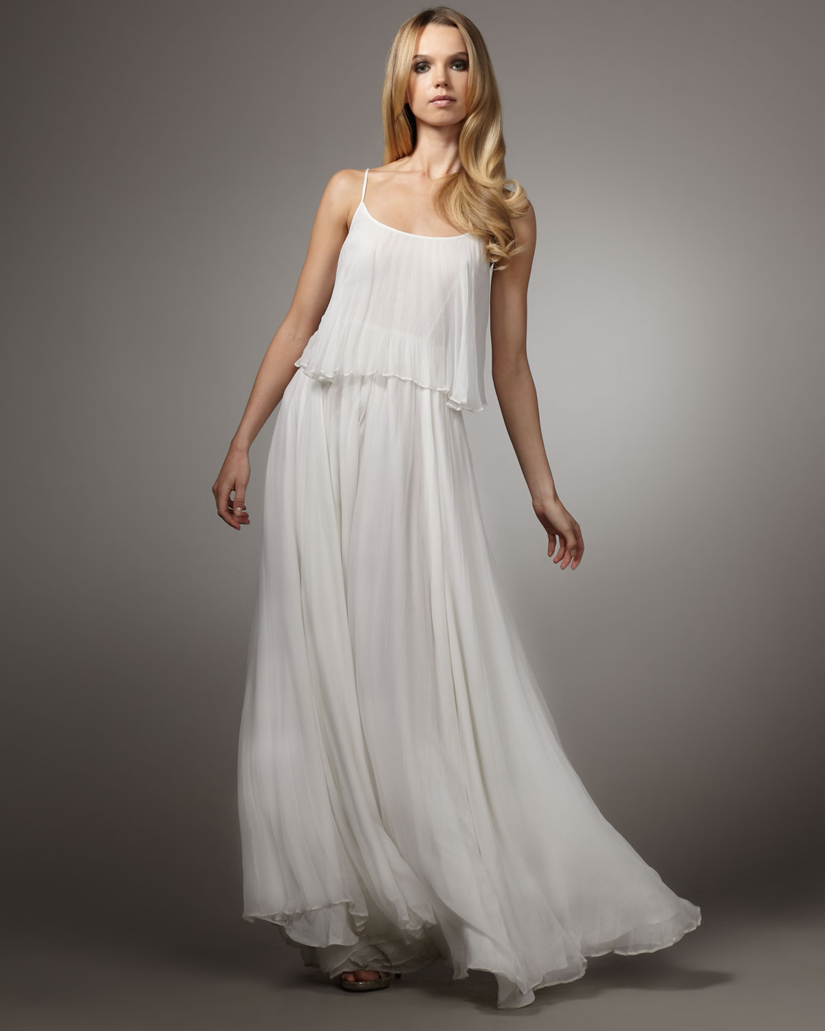 Wedding Gown Chiffon: Halston Heritage Pleated Chiffon Gown In White