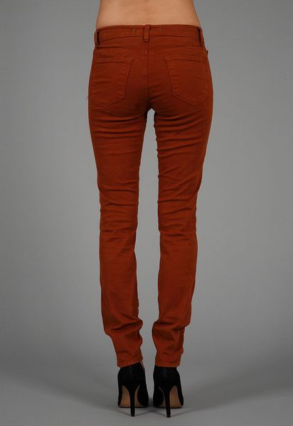 J Brand Luxe Twill 811 Mid Rise Skinny Leg in Red