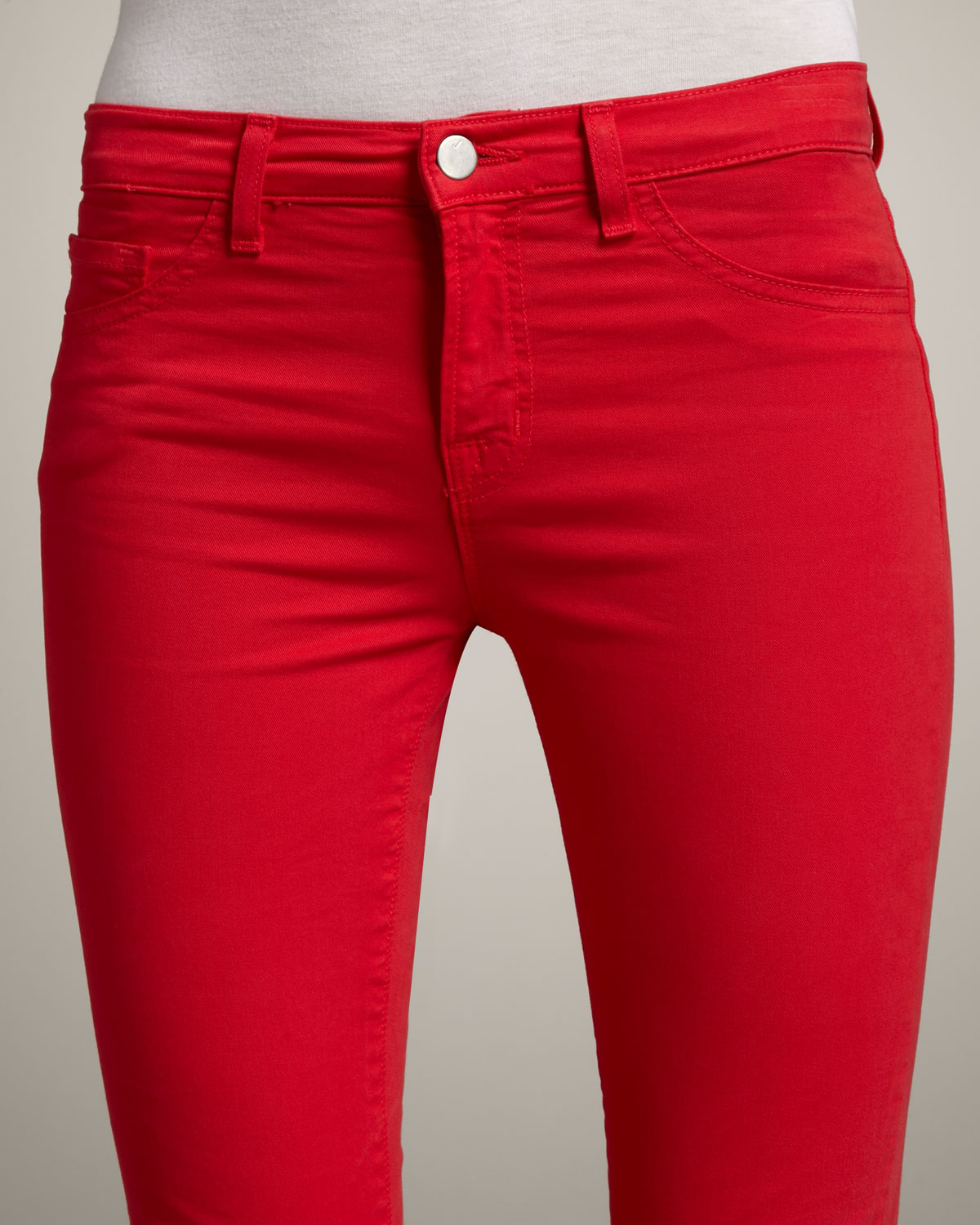 J brand 811 Mid-rise Skinny Twill Jeans, Bright Red in Red   Lyst