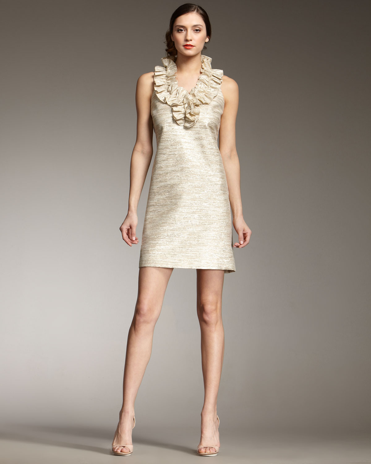 8db0cb1f0c5 Kate Spade Lucille Ruffle-front Shift Dress in Metallic - Lyst