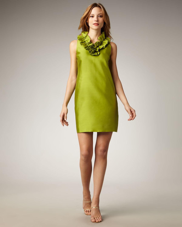 902d897454d Kate Spade Lucille Ruffled-neck Shift Dress in Green - Lyst