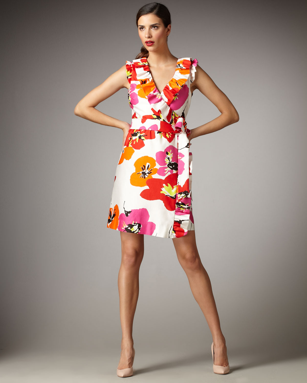 Kate Spade Aubrey Floral Print Wrap Dress In Pink Lyst