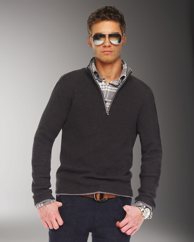 Lyst Michael Kors Half Zip Sweater Charcoal In Gray For Men