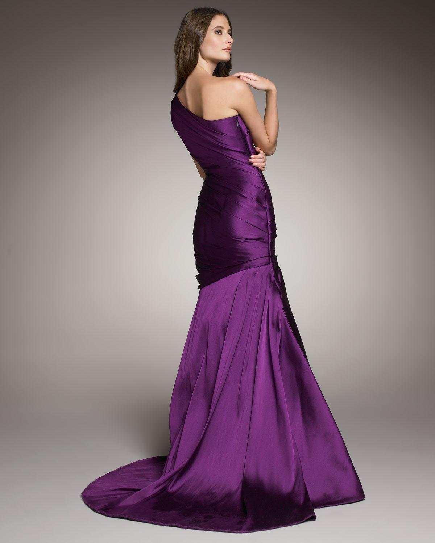 Monique Lhuillier One-shoulder Drape Gown In Purple