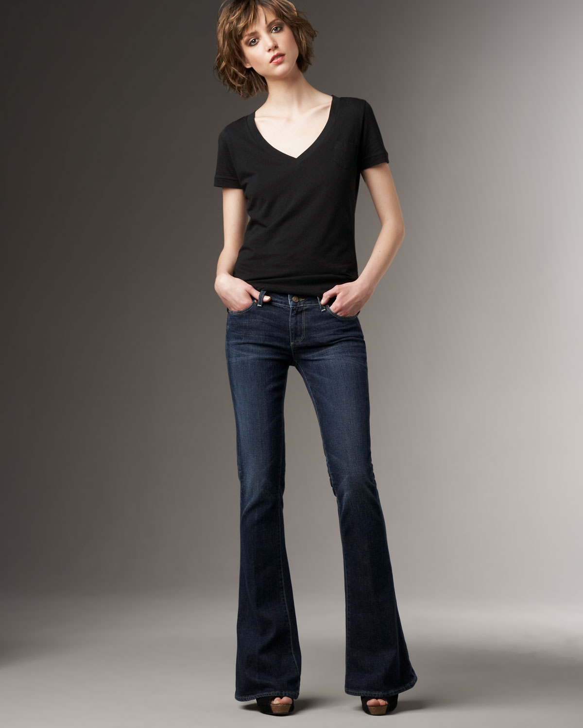 Lyst Paige Lou Lous Flare Sardinia Jeans In Blue