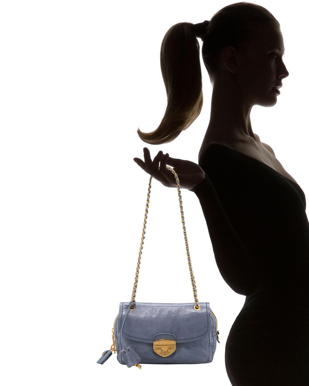 Prada Glace Calf Push-lock Chain Shoulder Bag, Cammeo in Pink   Lyst