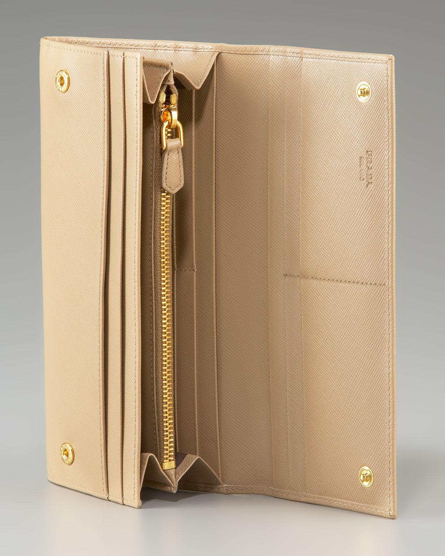 Prada Saffiano Continental Wallet in Beige (white) | Lyst