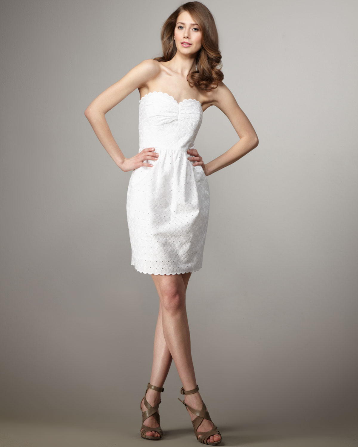 Shoshanna Eyelet Mimi Dress in White | Lyst