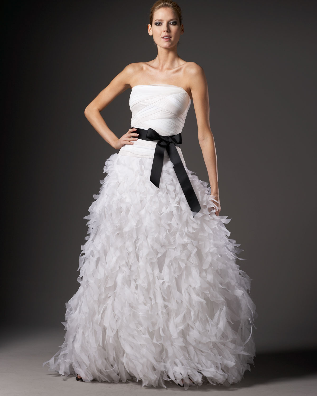 Lyst - Tadashi Shoji Organza-bottom Silk Ball Gown in White