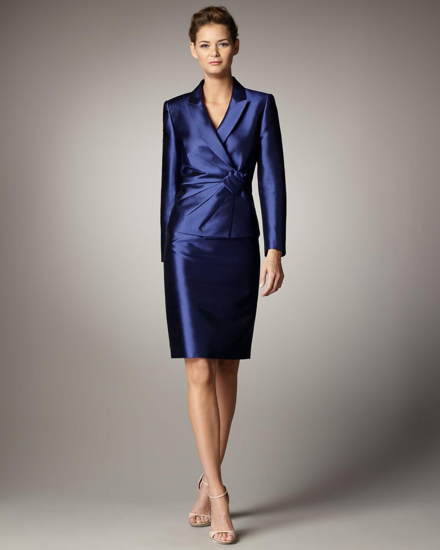 Tahari Rosette Detail Suit In Indigo Blue Lyst