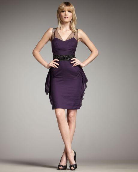 Vera Wang Lavender Illusion Top Beaded Belt Dress In