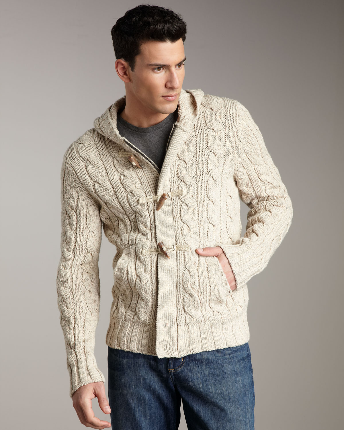 Vince Cable-knit Toggle Cardigan in Natural for Men | Lyst