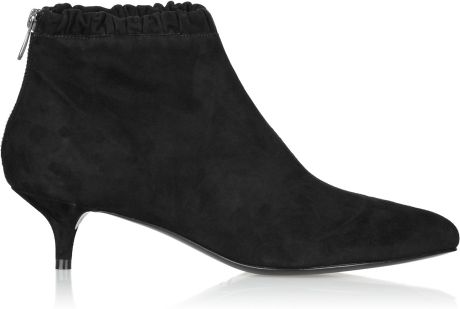 sigerson morrison kitten heeled suede ankle boots in black