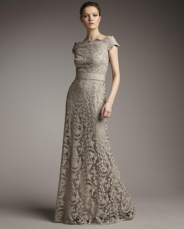 Off the Shoulder Gown Tadashi Shoji Lace Dress