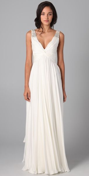 Reem Acra V Neck Gown with Jeweled Straps in White (ivory)