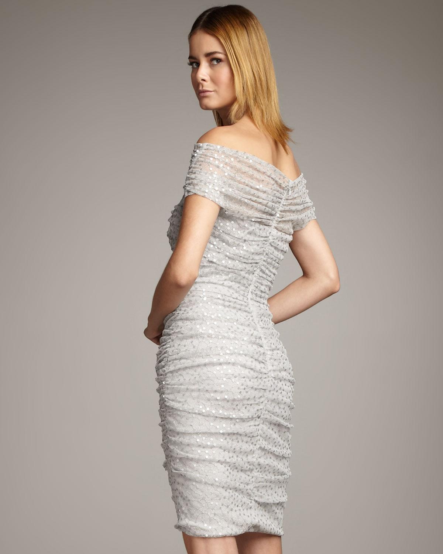 Tadashi Shoji Off The Shoulder Sequin Dress In Silver