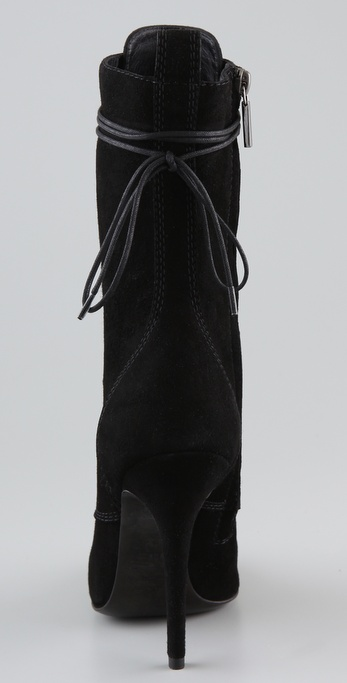 Balmain Lace Up Suede High Heel Boots In Black Lyst