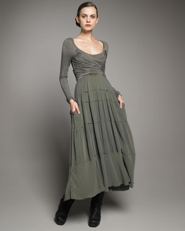 Lyst donna karan empire waist jersey dress in green for Empire waist t shirt dress