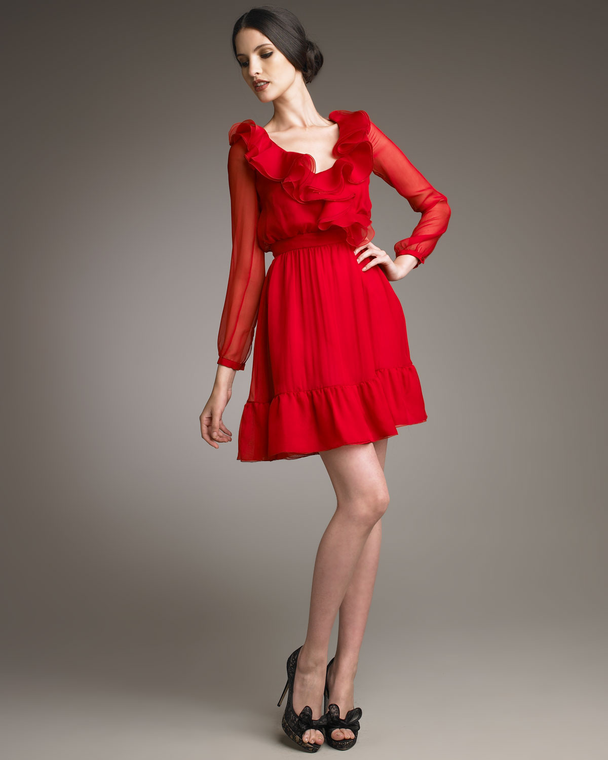 Valentino Ruffle Neck Dress In Red Lyst