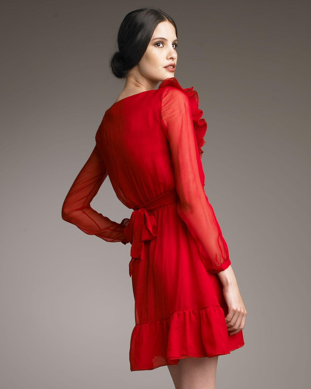 Lyst Valentino Ruffle Neck Dress In Red