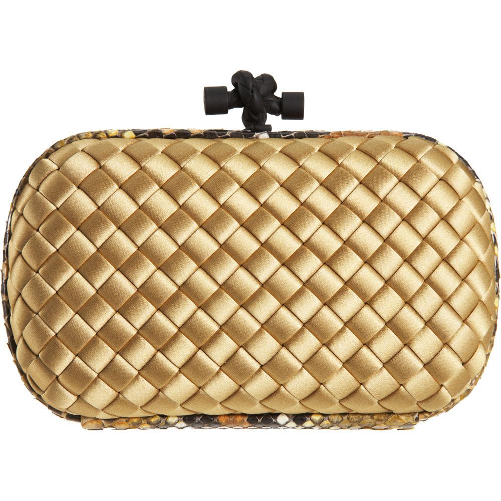 bottega veneta knot intrecciato clutch in gold lyst. Black Bedroom Furniture Sets. Home Design Ideas