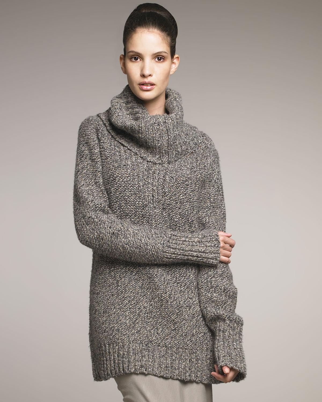 donna karan new york loft cashmere tweed turtleneck in. Black Bedroom Furniture Sets. Home Design Ideas