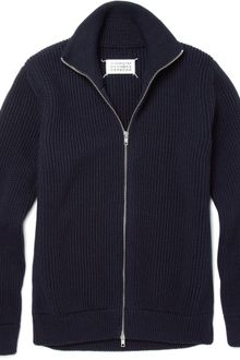 Maison Martin Margiela Trucker Zip Up Wool Cardigan - Lyst
