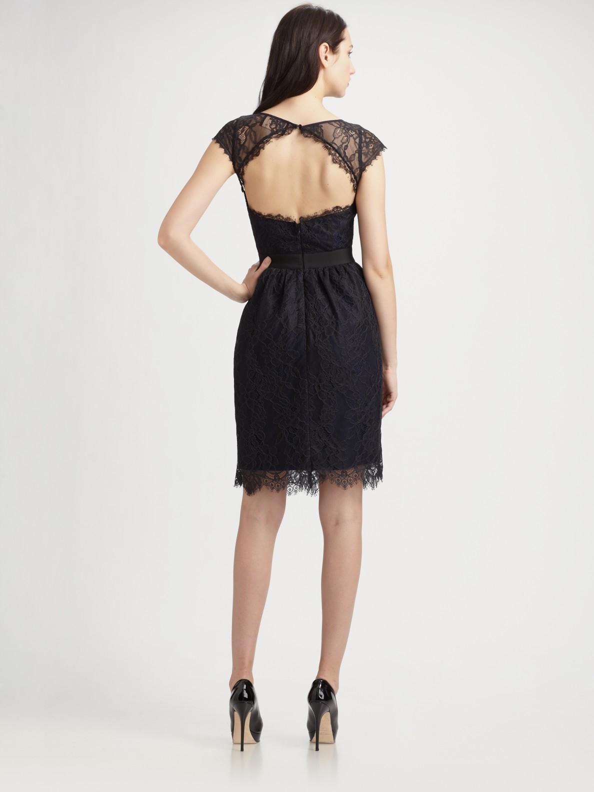 Ml Monique Lhuillier Midnight Lace Cocktail Dress In Black