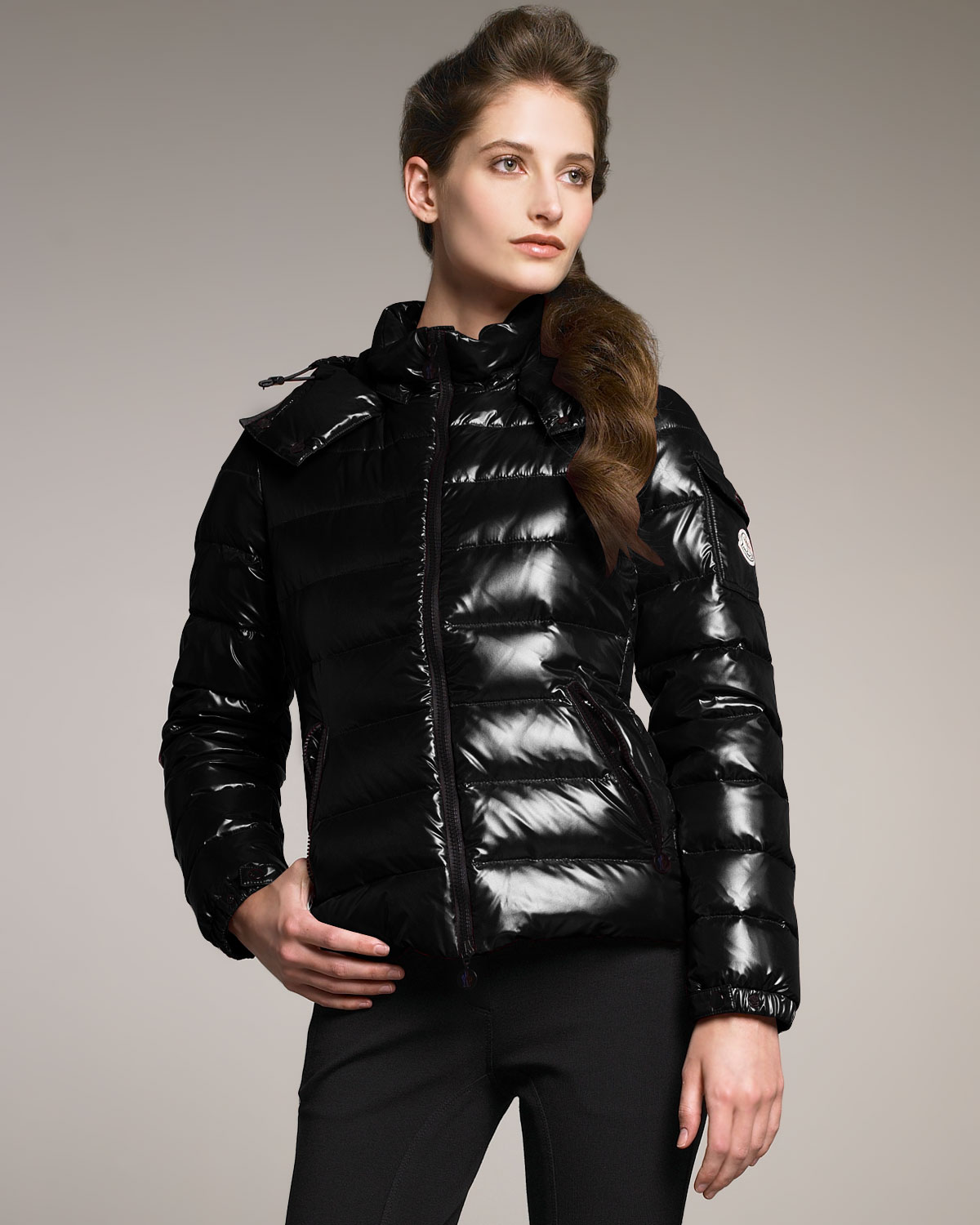 fff31e719 Moncler Black Laque Hooded Puffer Jacket