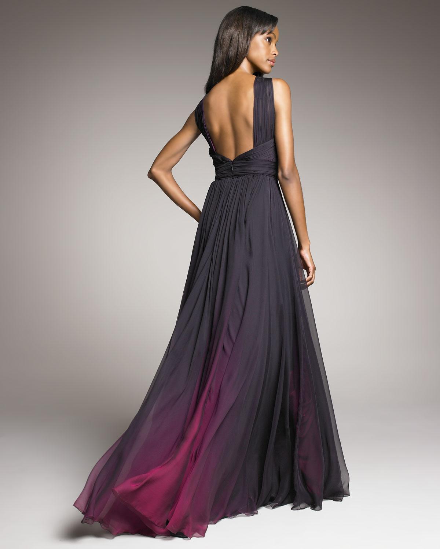 Monique Lhuillier Shirred Ombre Gown In Fuschia Purple