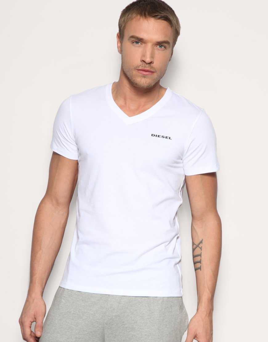 Lyst diesel v neck t shirt in white for men for White v neck shirt mens