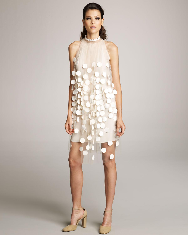 Lyst - Stella Mccartney Paillette Overlay Dress in White