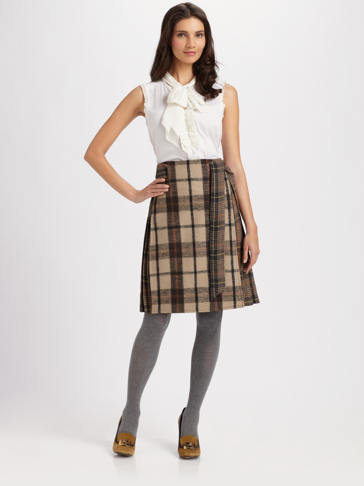 Plaid A Line Skirt - Dress Ala