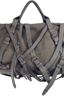 Alexander Wang Kirsten Suede Satchel in Dove Grey - Lyst