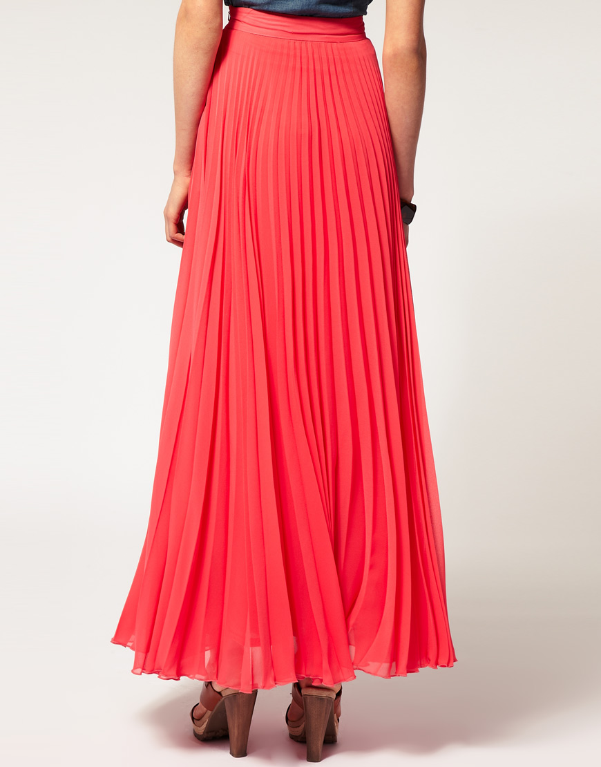 asos collection asos pleat maxi skirt in blue lyst