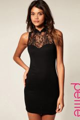 ASOS Collection Asos Petite Dress with High Neck Lace