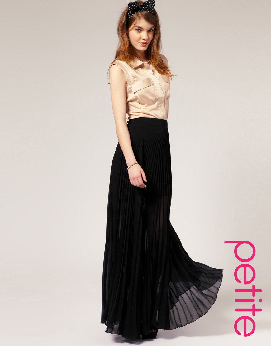 Asos collection Asos Petite Pleated Maxi Skirt in Black | Lyst