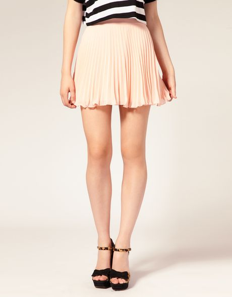 asos collection asos pleated mini skirt in coral lyst