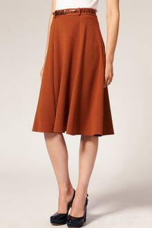 ASOS Collection Asos Midi Tailored Belted Ponti Fit and Flare Skirt - Lyst