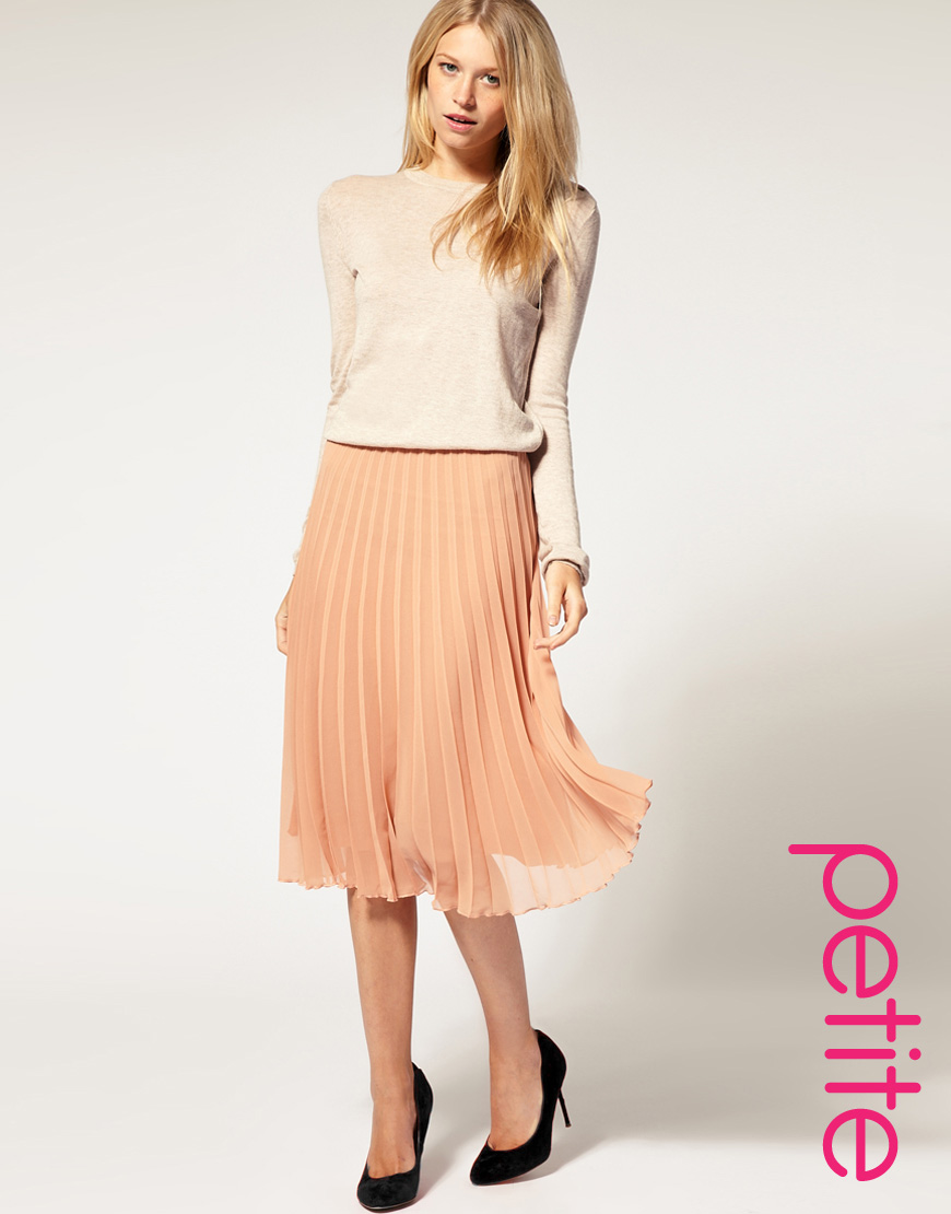 6c0ae002fc9c ASOS Collection Asos Petite Pleated Midi Skirt in Natural - Lyst