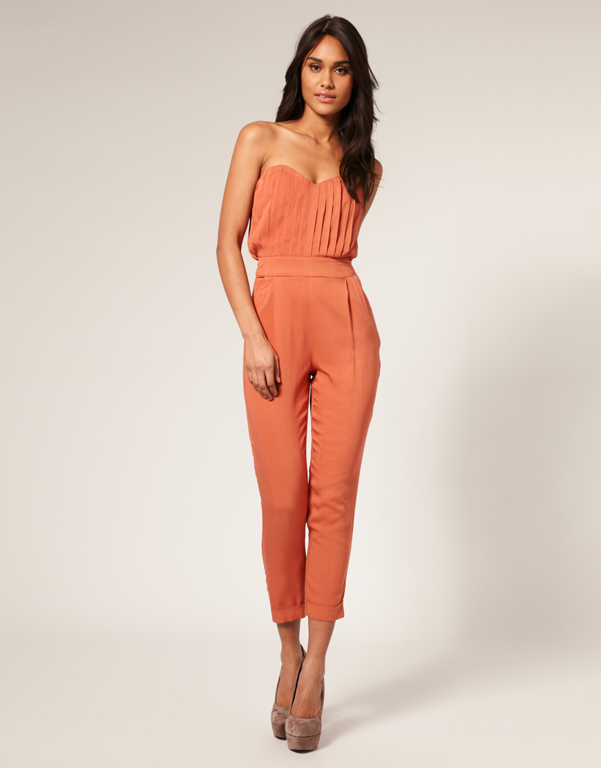Beautiful Orange Backless Vneck Jumpsuit  Rompers And Jumpsuits For Women
