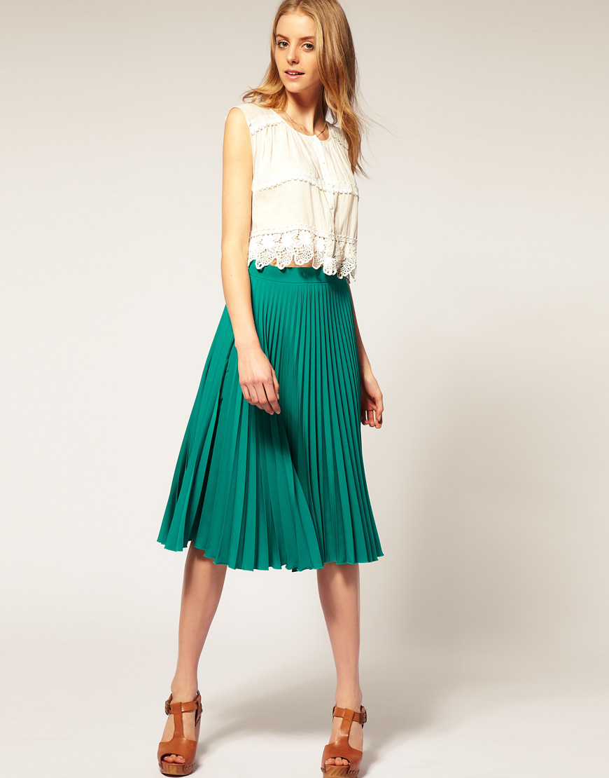 Asos collection Asos Pleated Midi Skirt in Green | Lyst