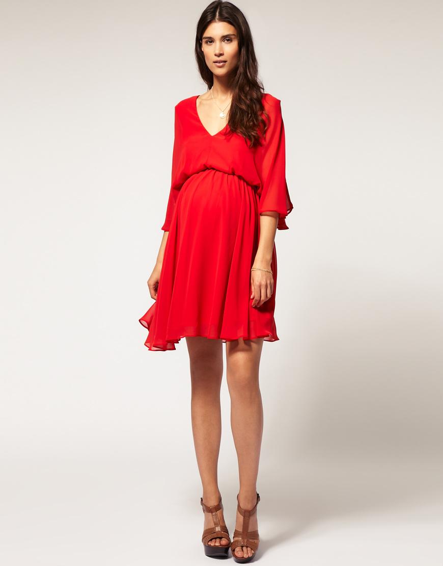 Asos Collection Asos Maternity Chiffon Kaftan Dress In Red