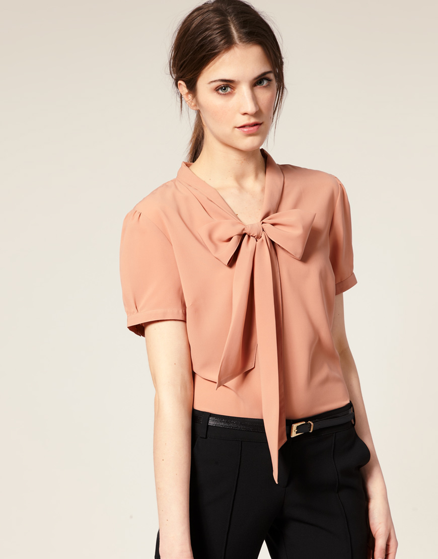 Asos collection Asos Pussybow Short Sleeve Blouse in Natural | Lyst