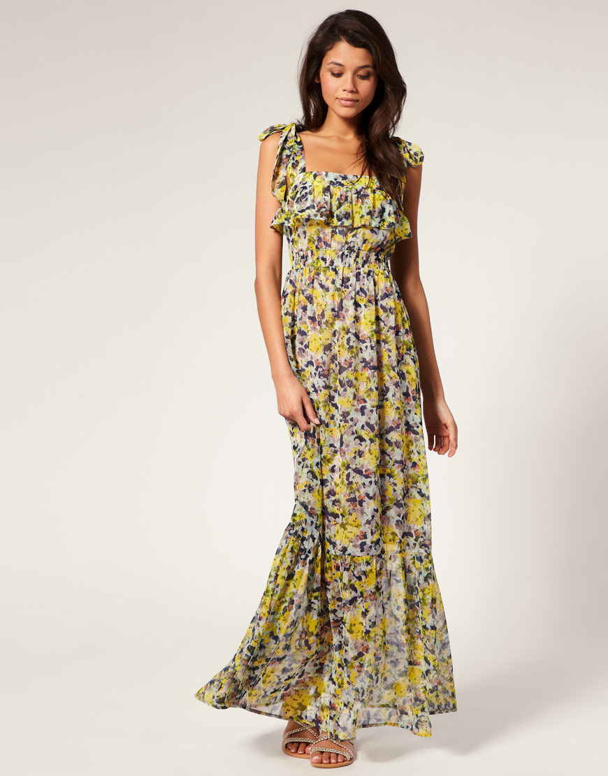 Asos collection Asos Maxi Dress in Chiffon Floral Print in ...