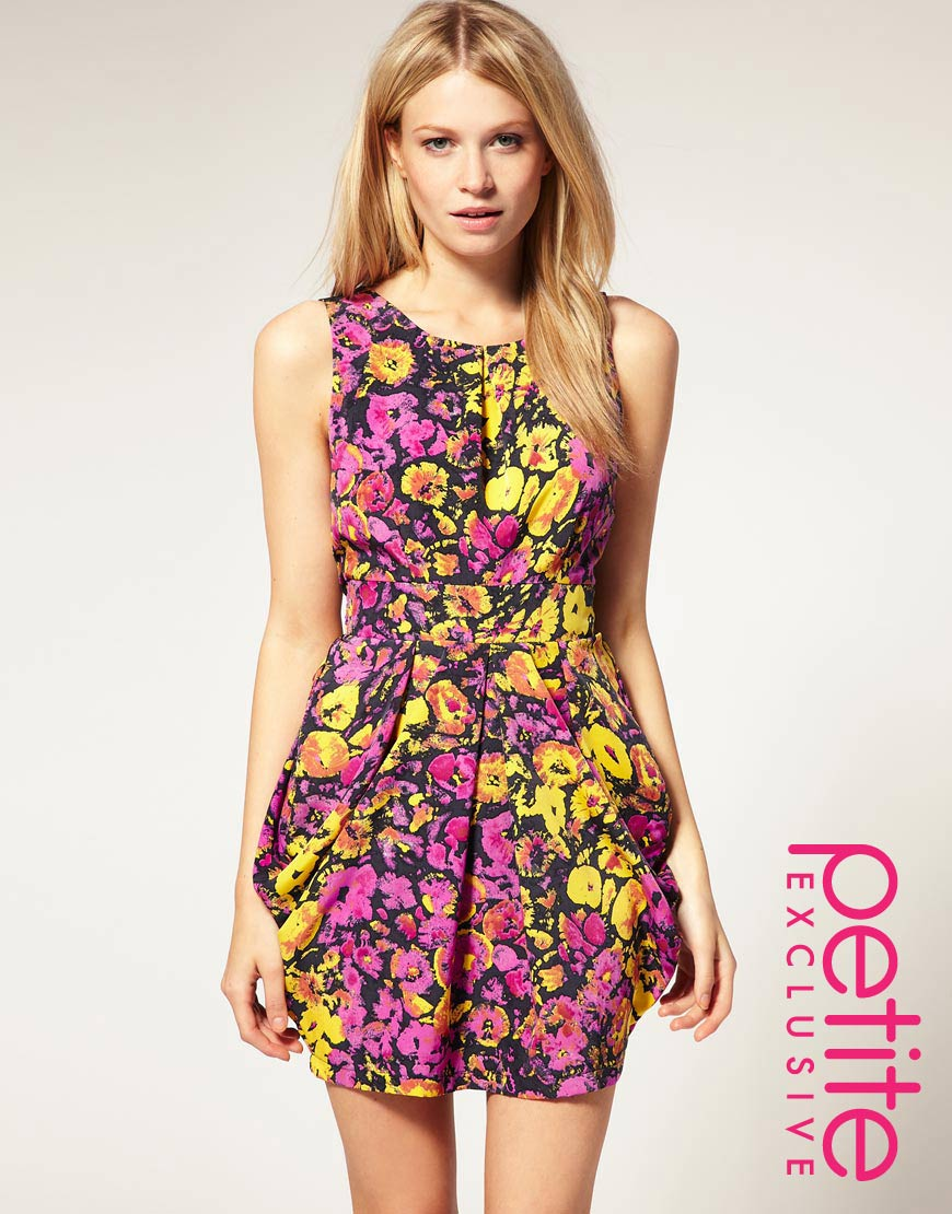 113b86de74 ... asos wrap dress with tulip skirt and long sleeves in floral print ...