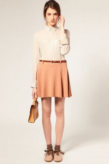 ASOS Collection Asos Tailored Belted Ponti Fit and Flare Skirt - Lyst