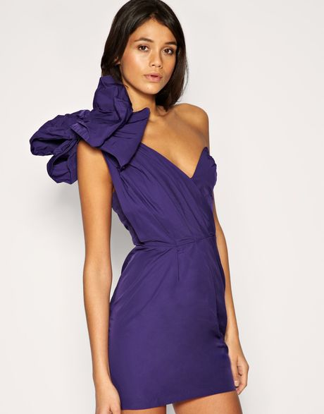 Asos Collection Asos One Shoulder Dress with Exaggerated Bow in Purple (violaceous)