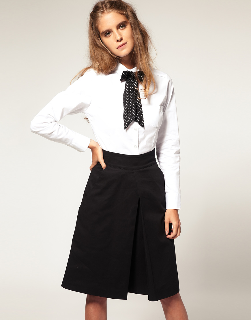Lyst Asos Collection Asos Peter Pan Collar Fitted Shirt In White